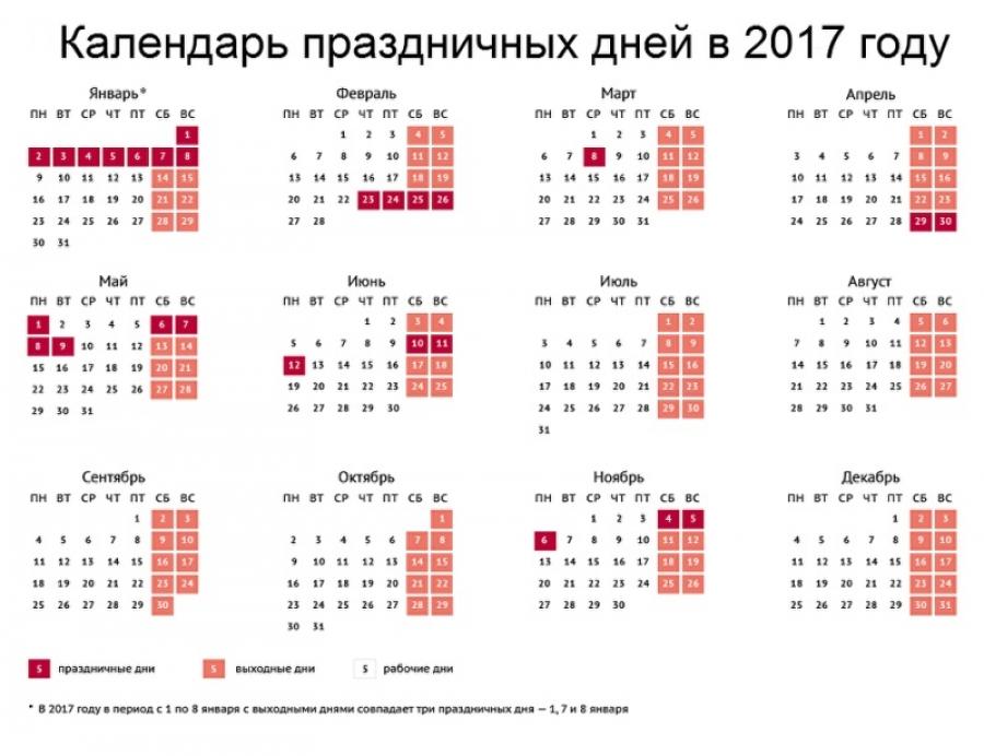 Утверждены выходные и праздничные дни 2017 года